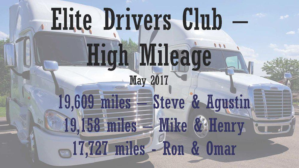 Congratulations to our High Mileage drivers! These teams work really hard day in and day out. Keep up the great work!